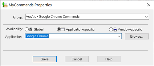 VoxAid Dragon commands for Google Chrome Dragon Mycommands Properties-window Application-Specific