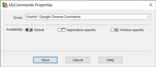 VoxAid Dragon commands for Google Chrome Dragon Mycommands Properties-window Global